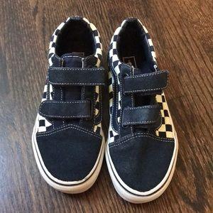 Boys Velcro vans retro check blue suede shoes 2
